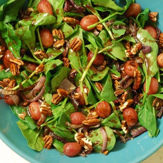 Spinach Salad with Roasted Grapes and Warm Balsamic-Grape Vinaigrette