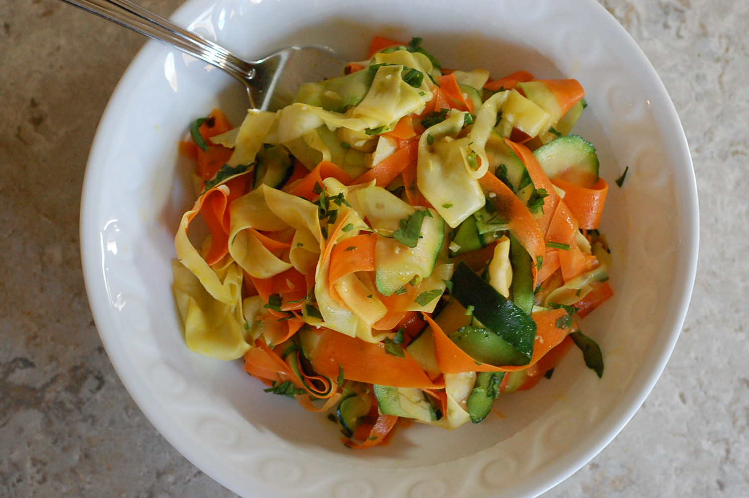 Veggie Ribbons with Garlic and Lime
