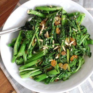 Lemony Broccoli Rabe with Almonds and Raisins
