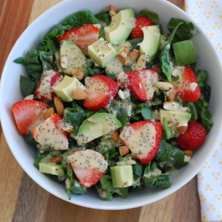 Strawberry Spinach Salad with Creamy Vegan Lemon Maple Poppy Seed Dressing