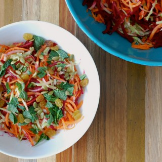 Root Vegetable Slaw with Pumpkin Seeds, Mint, and Raisins