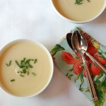 Vegan cauliflower soup with truffle oil
