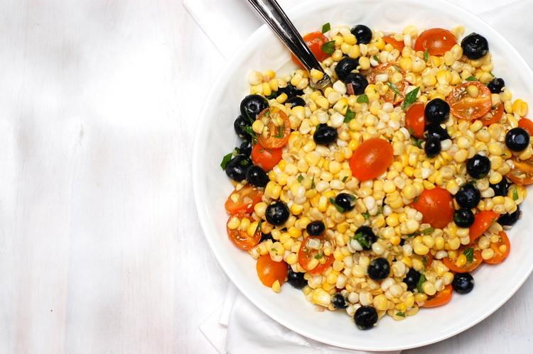 Vegan corn salad close up
