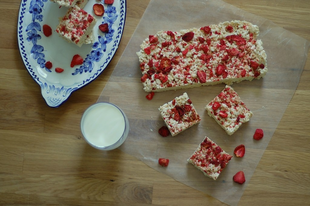 Almost Vegan Strawberry and Toasted Coconut Rice Krispie Treats cutting board