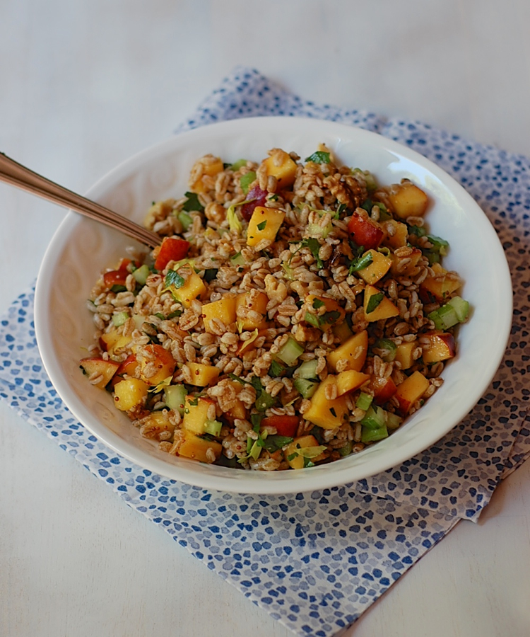 Vegan Farro Peach Salad