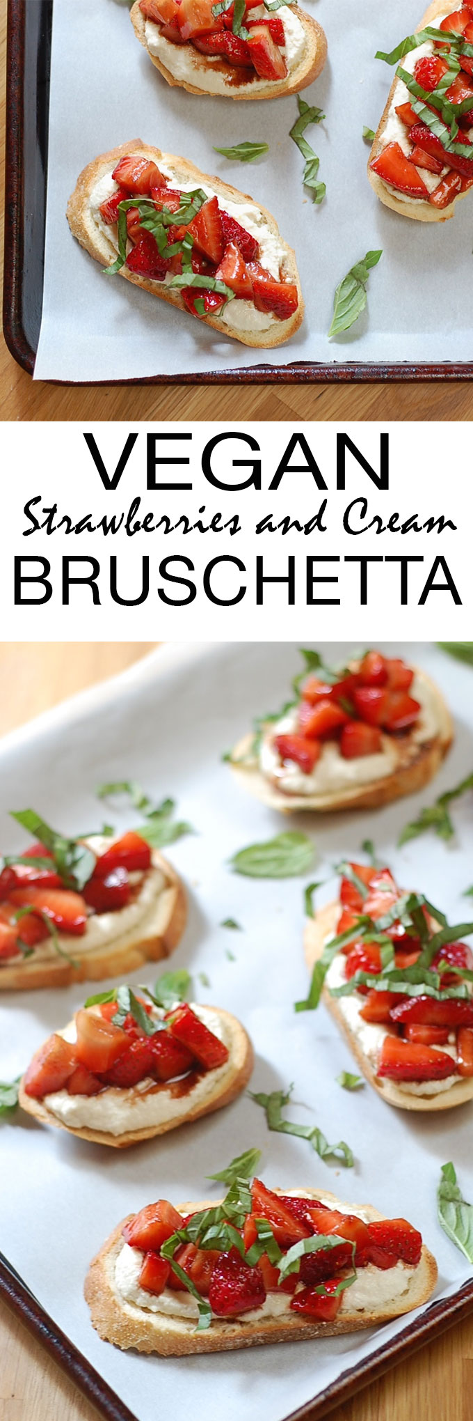 Creamy, delicious strawberry bruschetta toasts made light, healthy and vegan with cashew cream. This recipe is so easy and elegant, perfect for any spring or summer meal!