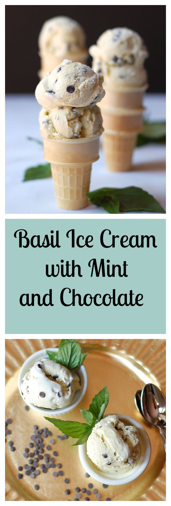 Basil Ice Cream with Mint and Chocolate recipe