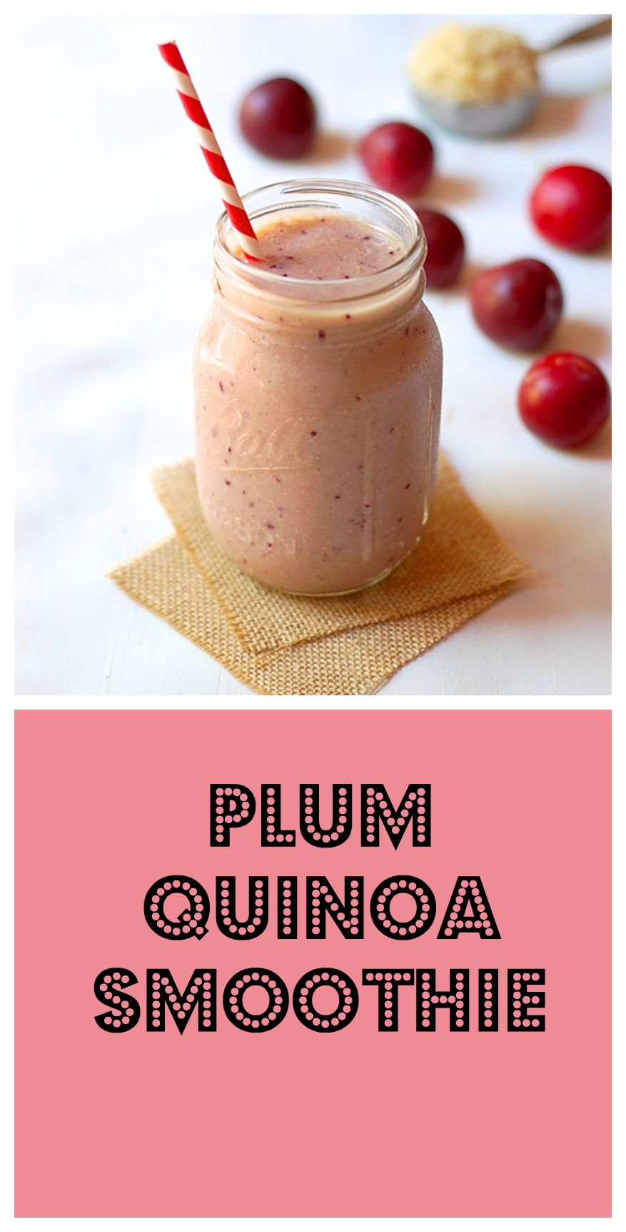 Gluten-free vegan plum quinoa smoothie recipe at turniptheoven.com