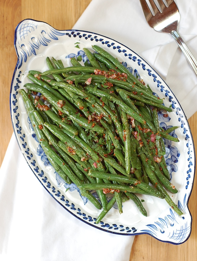 Roasted Green Beans with Honey and Dijon