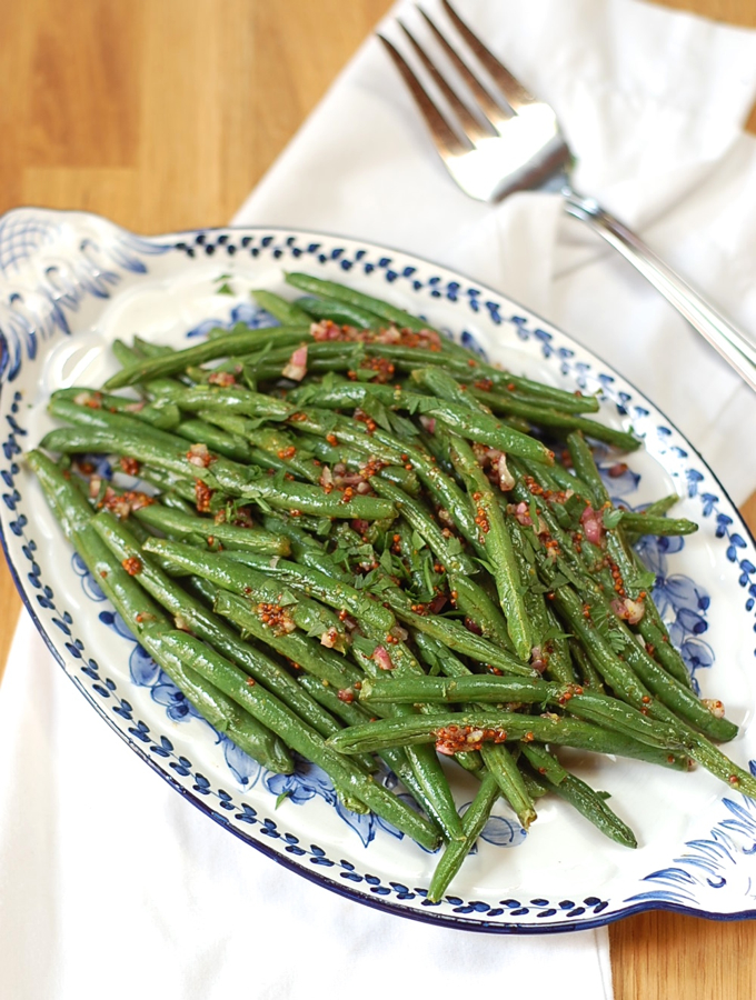 Roasted Green Beans with Honey and Mustard