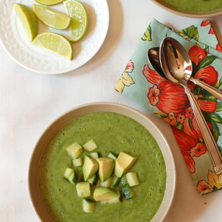 Spinach Avocado Soup with Salsa Verde