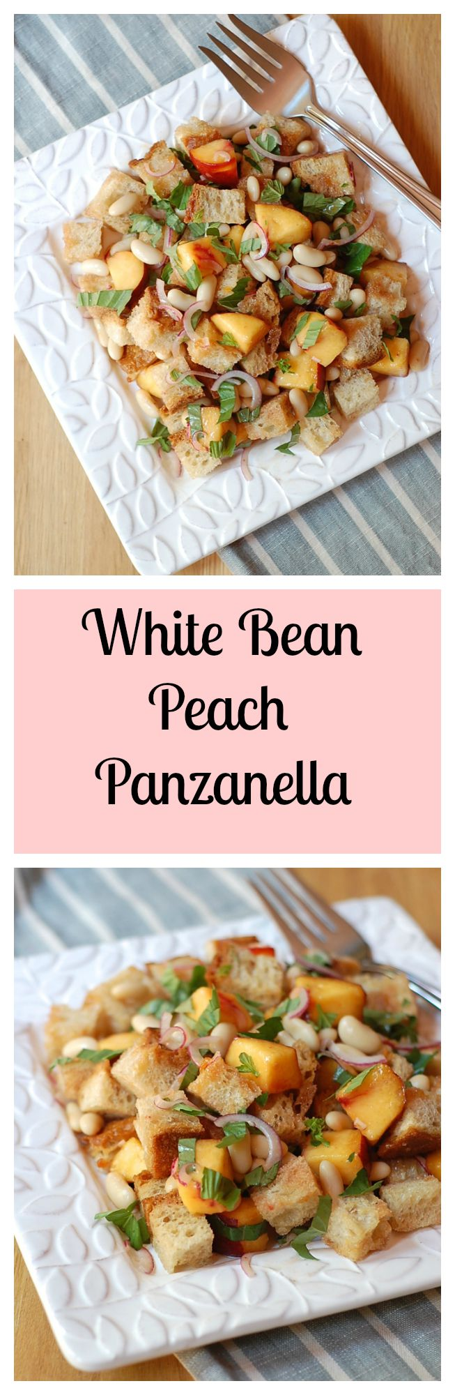 White Bean Peach Panzanella Salad
