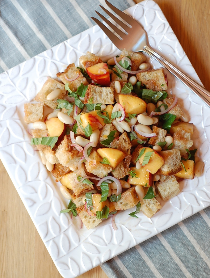 peach bread salad