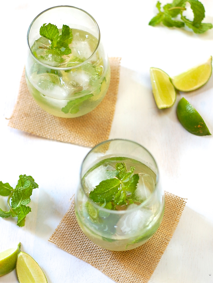 White Wine Mojito with lime and mint
