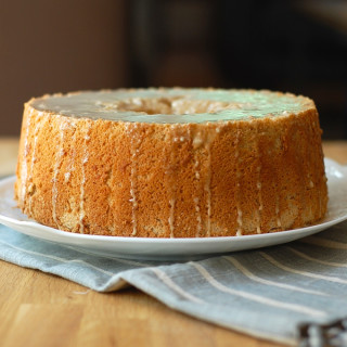 Pumpkin Spice Angel Food Cake with Coffee Glaze