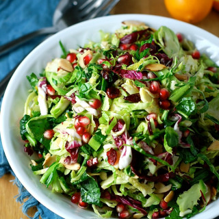 Shredded Brussels Sprouts with Meyer Lemon and Pomegranate