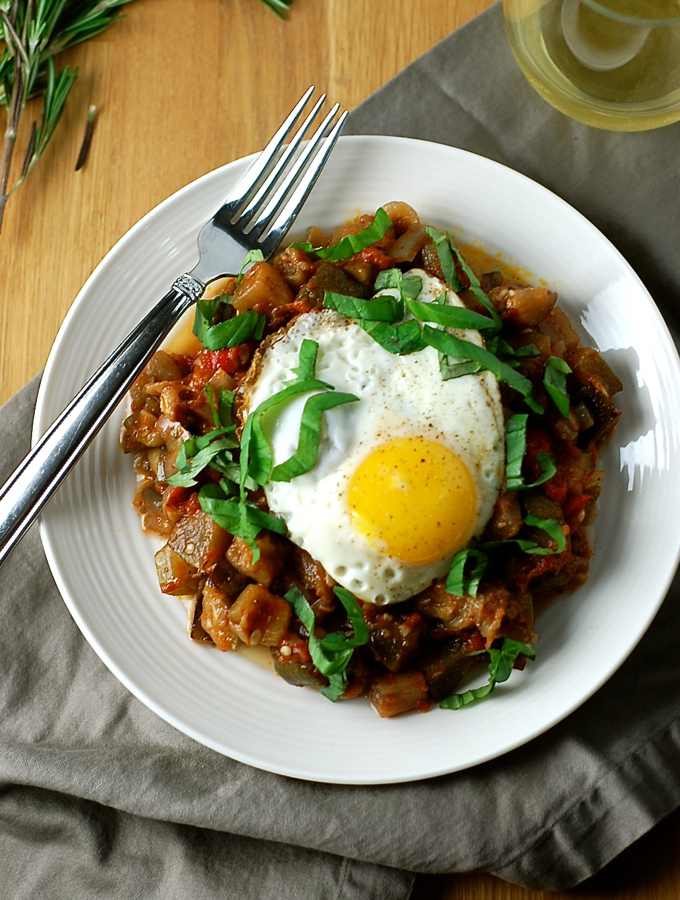Slow Cooker Ratatouille with Fried Eggs