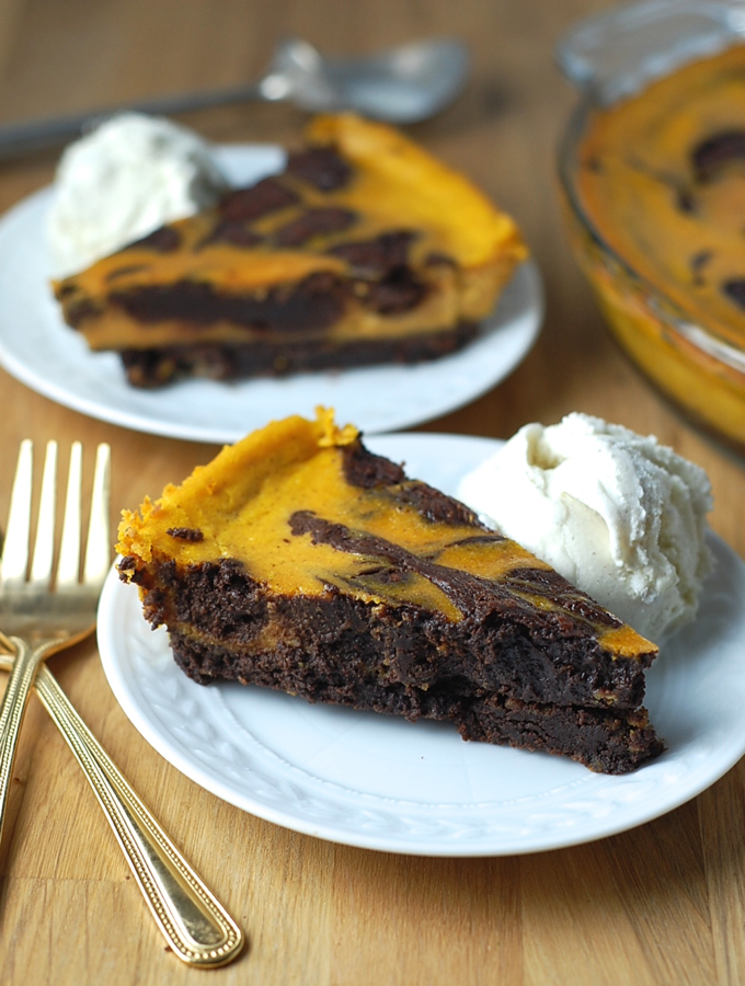 Pumpkin Brownie Pie 7