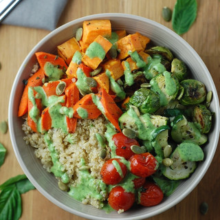 Roasted Vegetable Quinoa Bowls with Basil Yogurt Dressing