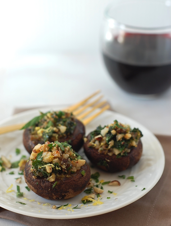 Stuffed Mushrooms with Hazelnuts, Kale and Gruyere