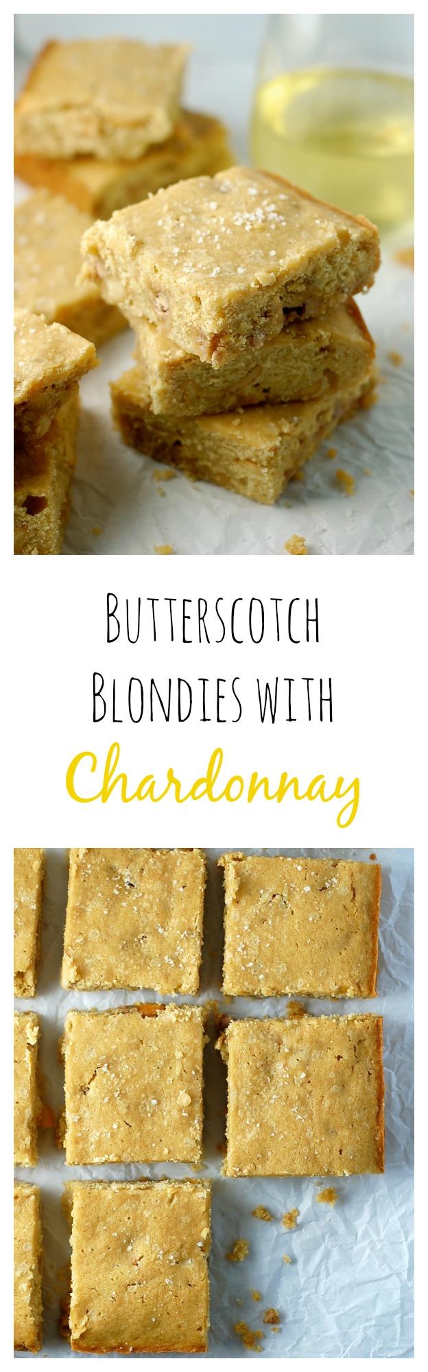 Easy one-bowl butterscotch blondies with chardonnay. Treat yo self!
