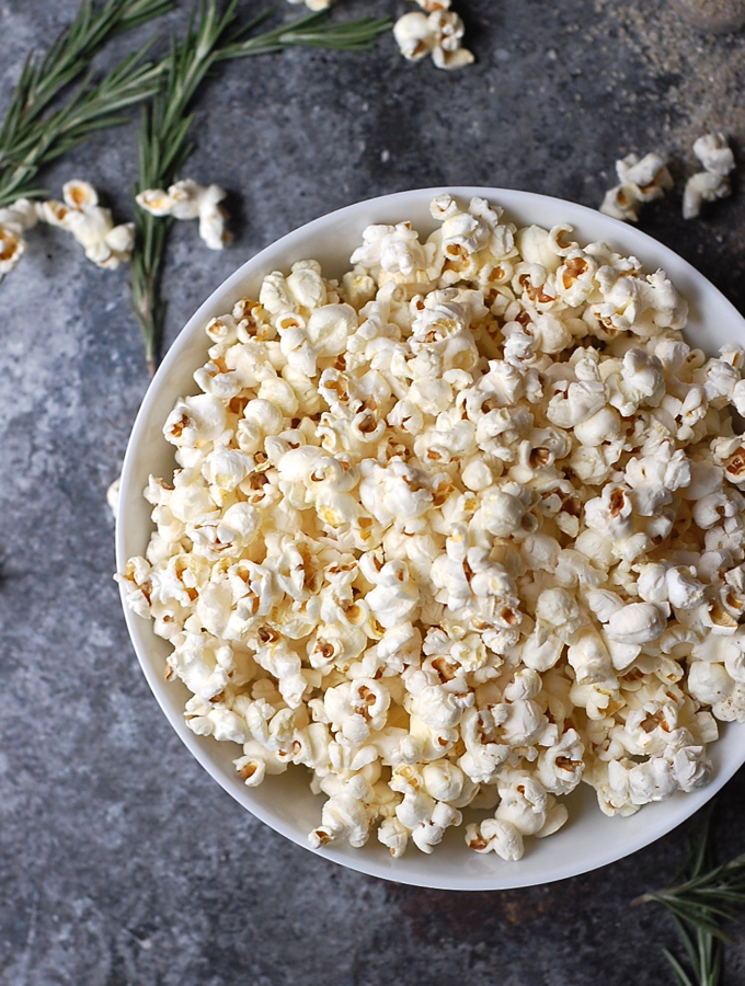 Rosemary popcorn with truffle oil