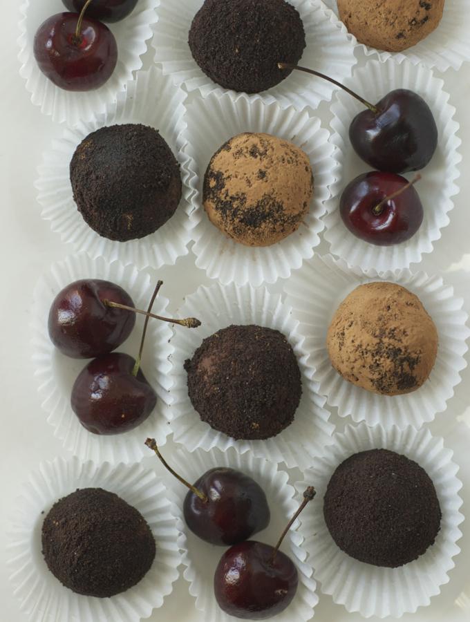 Chocolate Cherry Goat Cheese Truffles