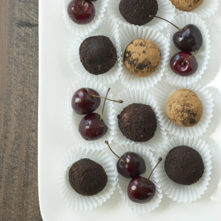 Chocolate Goat Cheese Truffles with Cherry Jam