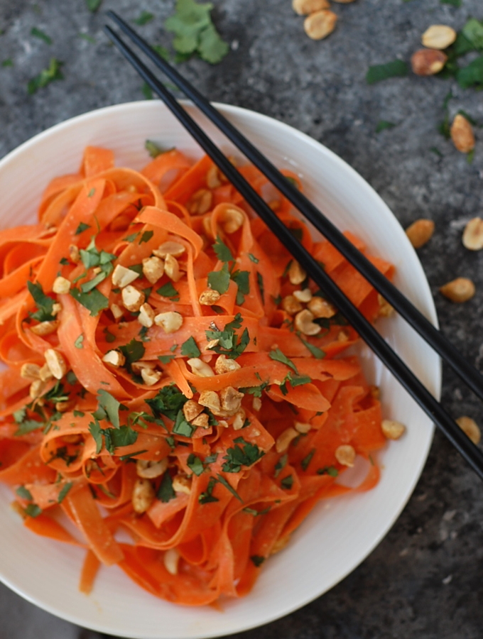 No Spiralizer Carrot Noodles with Peanut Sauce 2