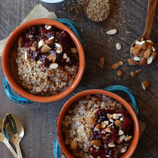Overnight Breakfast Bulgur with Maple Berry Sauce (Vegan)