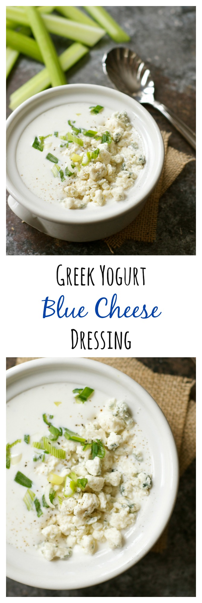 Rich, creamy blue cheese dressing for a fraction of the calories? Yes please! This light and healthy version is made with Greek yogurt.