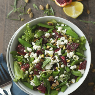 Snap Pea Salad with Blood Orange, Goat Cheese & Honey Tarragon Vinaigrette
