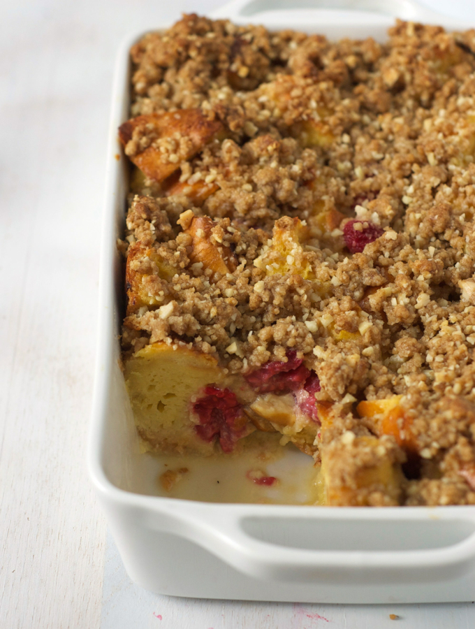 Raspberry Bread Pudding with Almond Crumble