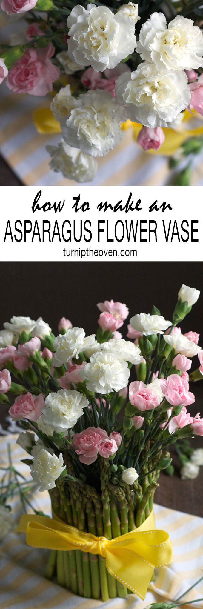 This DIY asparagus flower vase is perfect for spring! All it takes is an old coffee can, some rubber bands, ribbon, asparagus, and a bunch of flowers. It's a simple crafts project for you or your kids, and the results are so beautiful and impressive.