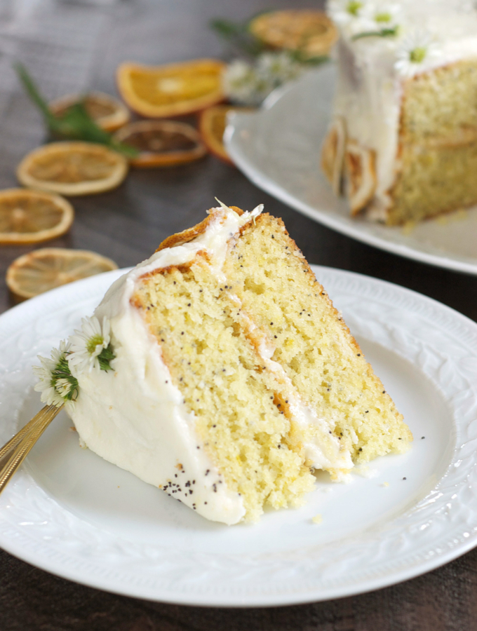 Lemon Poppy Layer Cake Slice