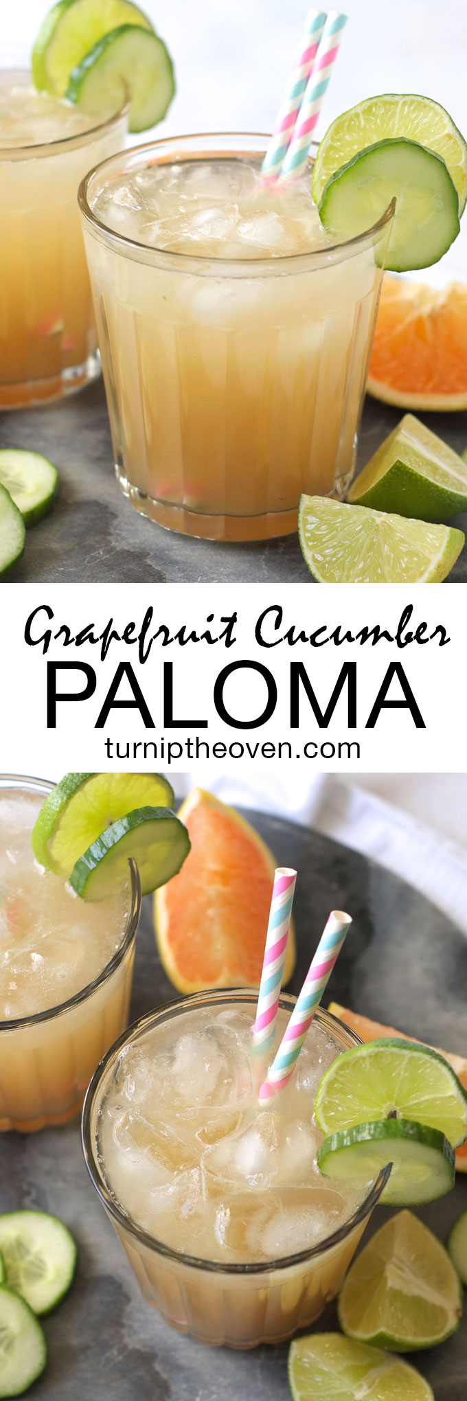 The paloma is the margarita's even easier cousin! Tequila, grapefruit juice, cucumber, lime, and club soda are combined in this refreshingly fruit but not-too-sweet drink.