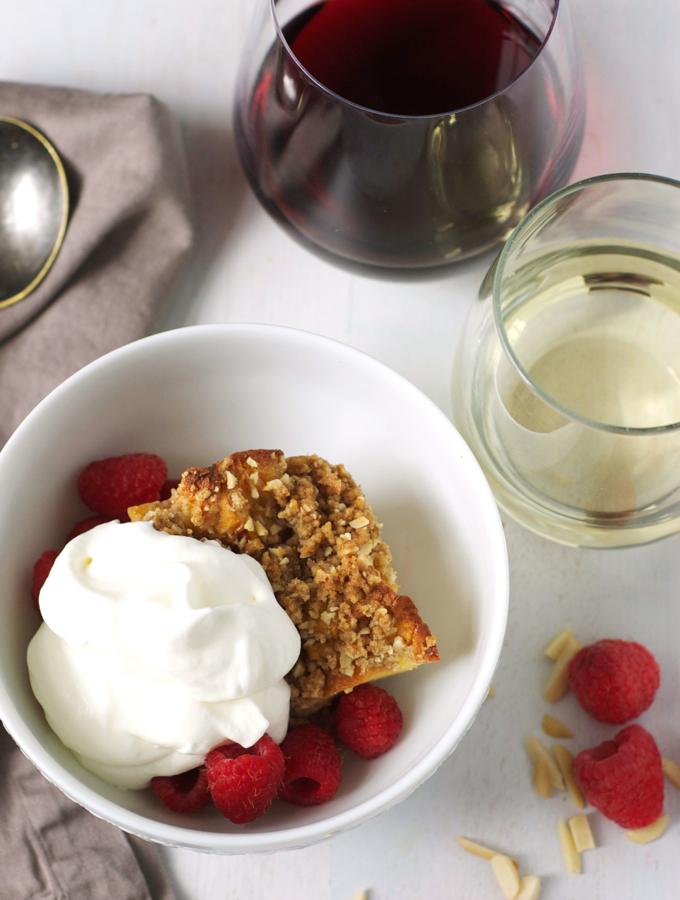 Rasberry Bread pudding with wine