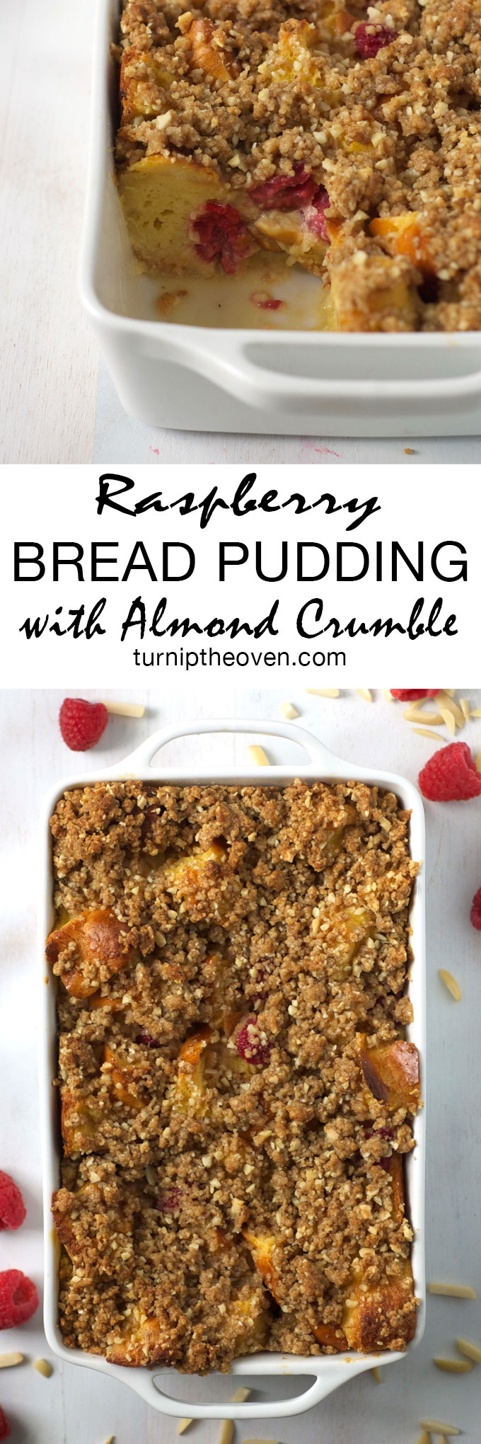 This raspberry bread pudding becomes even more indulgent when you add a buttery brown sugar and almond crumb topping. Don't forget the whipped cream!
