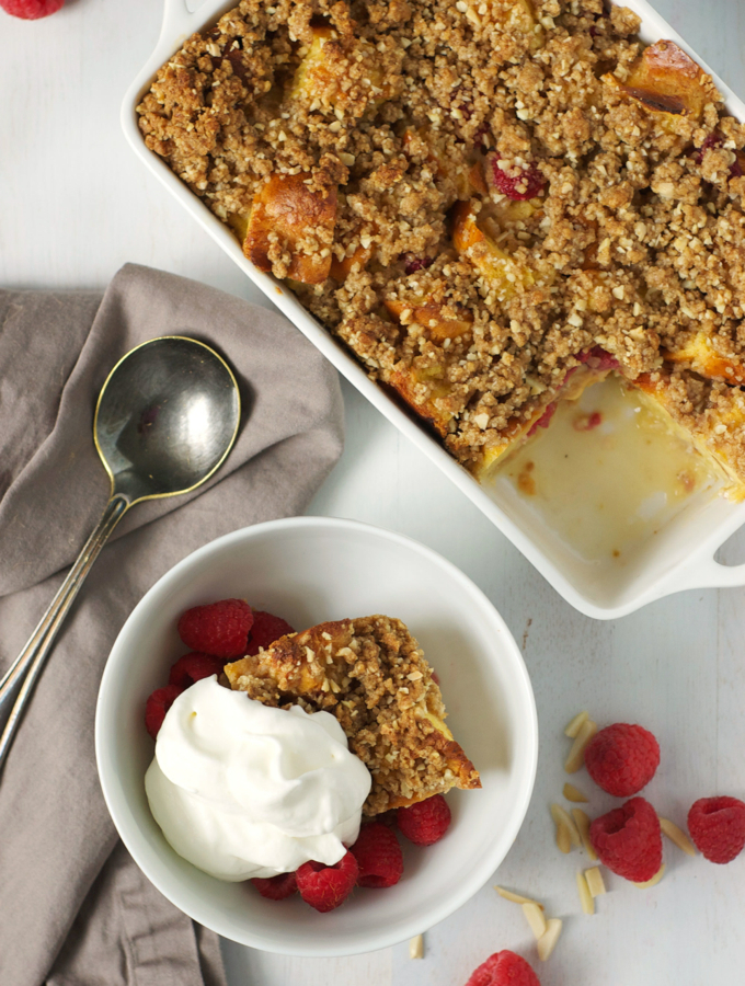 Raspberry Bread Pudding with Almond Crumble – Turnip the Oven