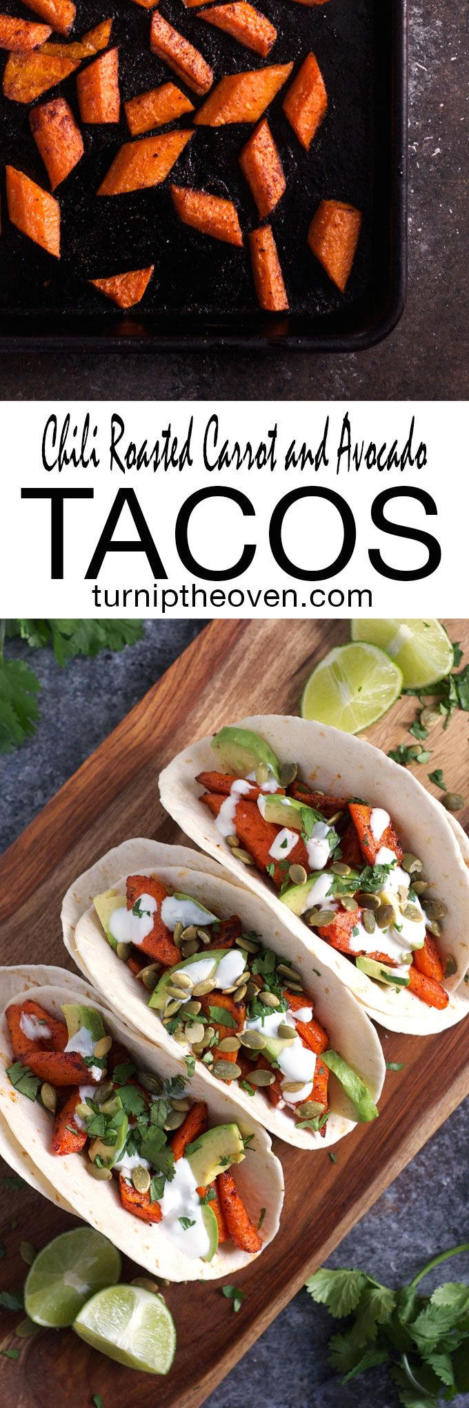Chili Roasted Carrot and Avocado Tacos are the perfect vegetarian weeknight meal. Topped with crunchy pumpkin seeds and a spicy jalapeño lime sour cream, you'll never miss the meat!