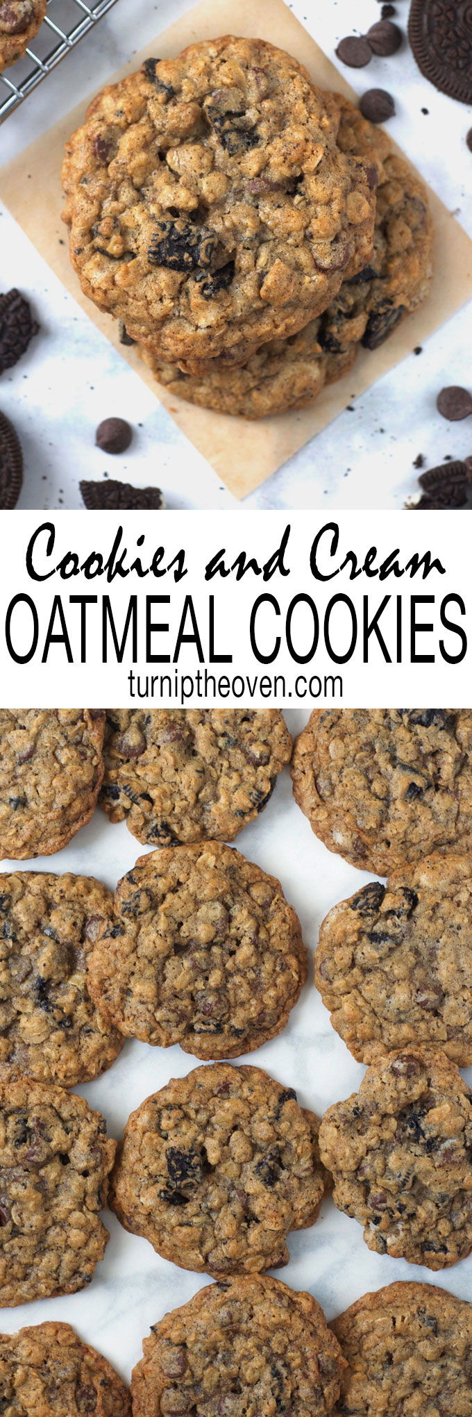 Cookies and Cream Oatmeal Cookies--these thick, chewy, bakery-size oatmeal cookies are loaded with chocolate chips and crushed chocolate sandwich cookies. A lunchbox classic, reinvented!