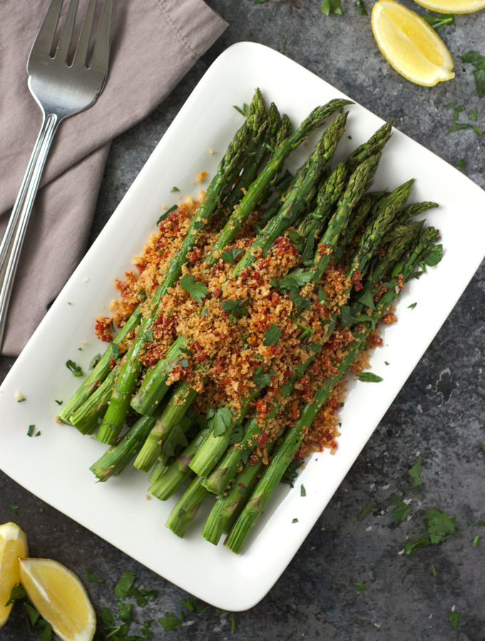 Roasted Asparagus with Sun-Dried Tomato Breadcrumbs