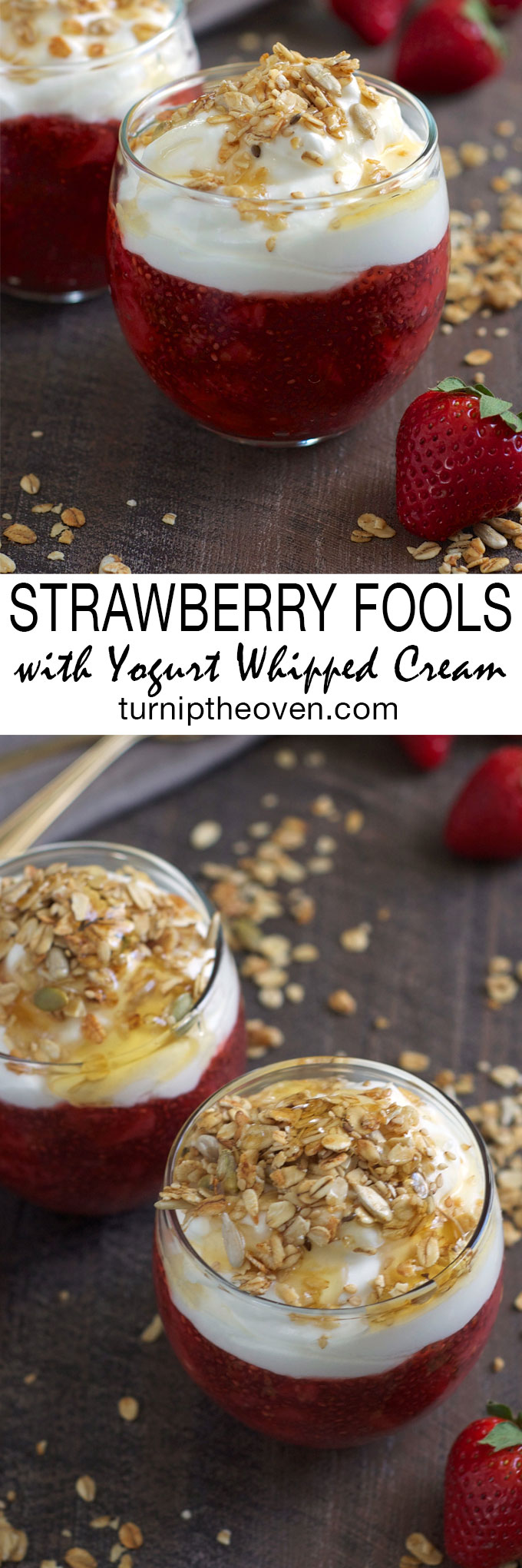 These simple and delicious strawberry fools are made with chia seeds and topped with a honey Greek yogurt whipped cream. Serve them for breakfast or for dessert!