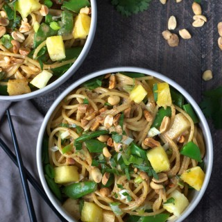Coconut Sesame Noodles with Pineapple