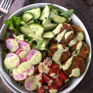 Easy Falafel Salad with Tahini Lime Yogurt