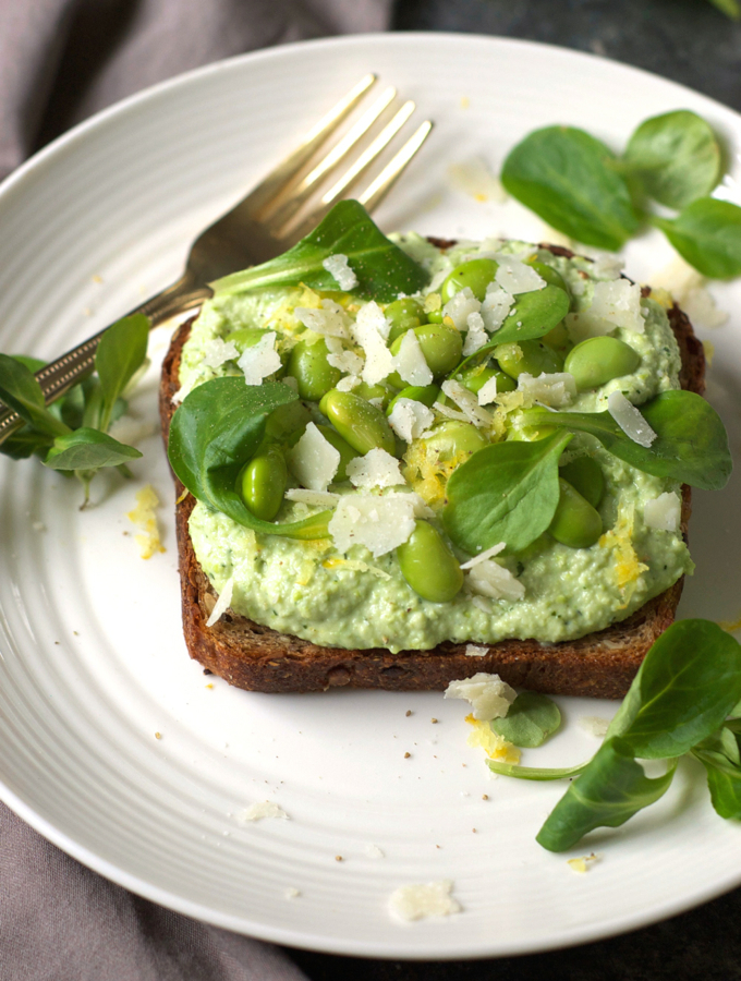 Smashed Edamame Toast with Ricotta and Parmesan