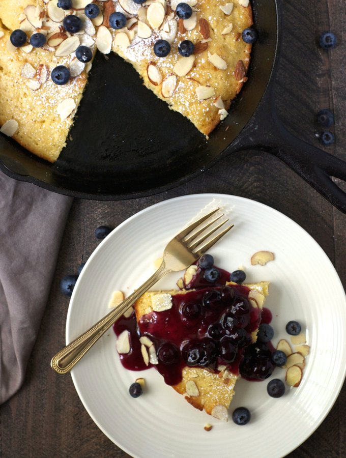Oven-Baked Skillet Pancake with Blueberry Sauce