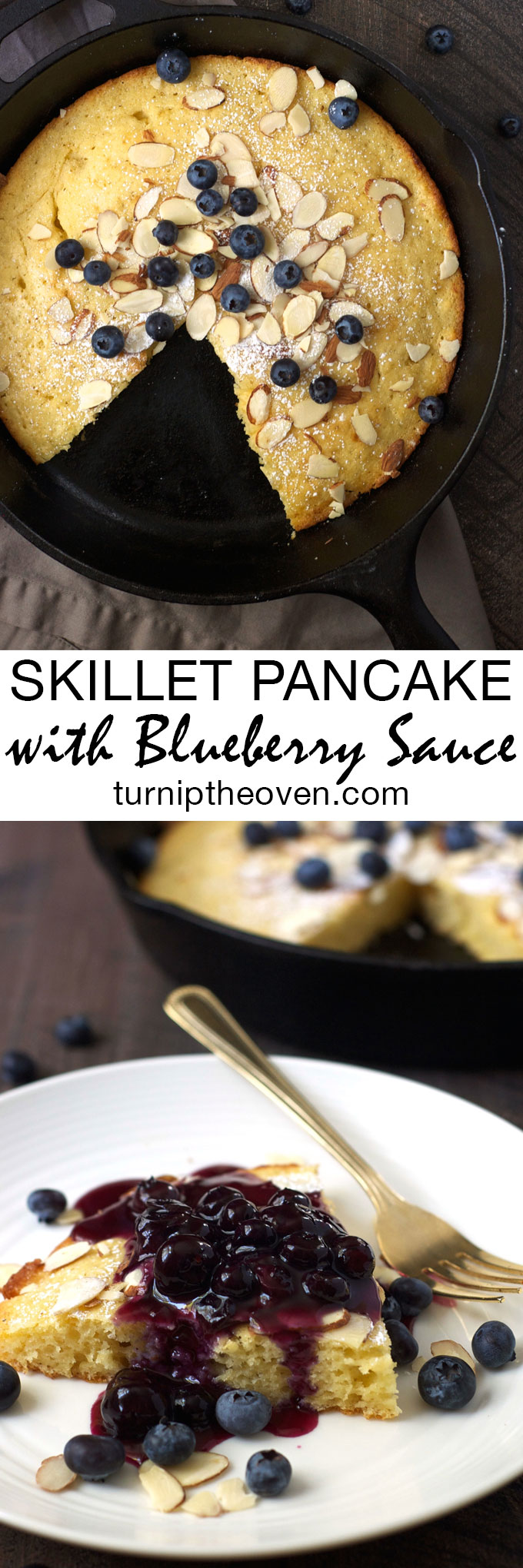 Once you try this easy, wholesome oven-baked skillet pancake, you'll never go back to flipping them on the stovetop again! Homemade maple blueberry sauce is the perfect accompaniment. Is it time for breakfast yet?