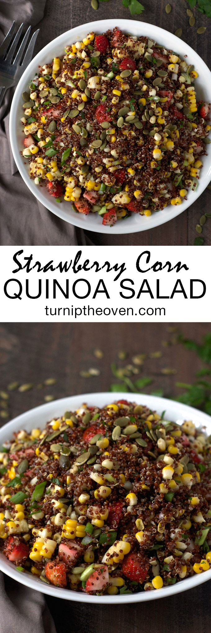 This strawberry corn quinoa salad is dressed with a subtly smoky chipotle chia seed dressing. Gluten-free, vegan, and packed with protein, it's a great make-ahead potluck dish or take-to-work lunch.