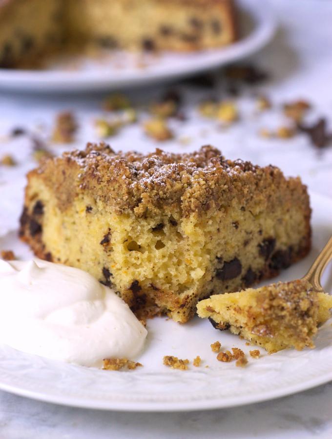 Salted Pistachio Chocolate Chunk Ricotta Cake